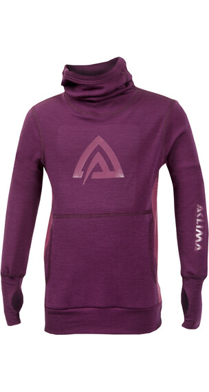 Aclima Children WarmWool Hood Sweater Grape Wine/Damson